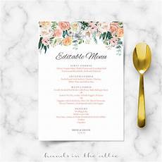 Wedding Menu Cards Secret Garden Vintage Flowers Menu Template Hands In The