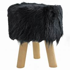 Esituro Ottoman Padded Footstool Fur Pouffe Chair by Shaggy Faux Fur Wooden Footstool Ottoman Pouffe Fury