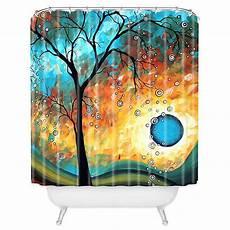 Aqua Designs Inc Deny Designs Madart Inc Aqua Burn Shower Curtain In Blue