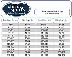 Snowboard Sizing Chart Mens Snowboard Size Charts For Men Women And Kids
