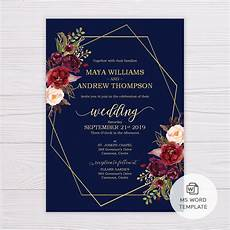 Template Wedding Invitation Navy Blue With Marsala Flowers Amp Gold Frame Wedding