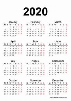 One Year Calendar 2020 Printable 2020 Calendar Printable Month Calendar