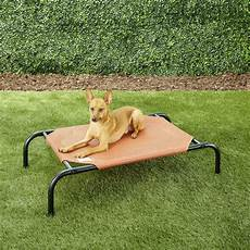 coolaroo steel framed elevated pet bed terracotta small
