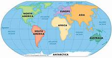 Continent World Map Highlighted In Orange Printable World Map Image For
