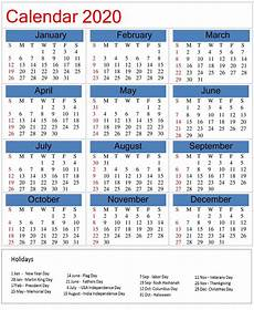 2020 Calendar Holidays Usa Printable 2020 Calendar With Holidays On We Heart It