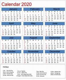 2020 Calendar With Holidays Printable Printable 2020 Calendar With Holidays On We Heart It