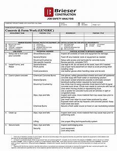 Job Safety Analysis Examples Job Safety Analysis Brieser Construction