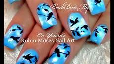 Bird Design On Nails Diy Flying Black Bird Nails Birds Nail Art Design
