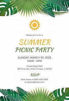 Summer Party Invitations Templates Free Summer Picnic Party Invitation Template In Microsoft