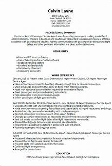 Airline Customer Service Agent Resume Professional Airport Passenger Service Agent Templates To