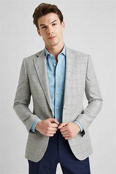 Light Blue Check Jacket Moss 1851 Tailored Fit Grey Check Jacket
