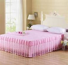 pink floral tulle lace bed skirt cotton polyester