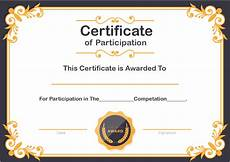 Free Certificates Of Participation Free Sample Format Of Certificate Of Participation