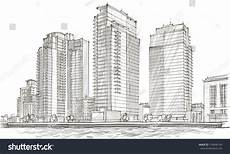City Building Sketches Architectural Sketch Idea Drawing City Stock Vector