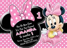 Minnie Mouse Birthday Invitations Free Minnie Mouse First Birthday Invitations