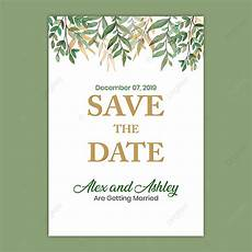 A5 Invitation Template Save The Date Wedding Invitation With Green Leaf A5 Flyer
