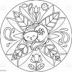 coloring cat mandala stock illustration image