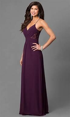 eggplant purple prom dress with v neck promgirl