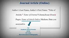 Mla Siting Mla Style Works Cited List Citing Journal Articles Youtube