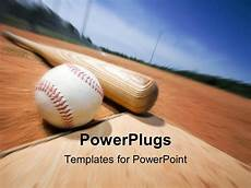 Baseball Template Powerpoint Template A Baseball And A Bat With Blurred