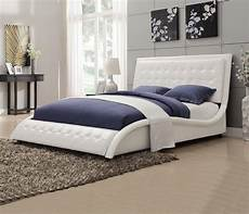 tully white king platform upholstered bed from coaster