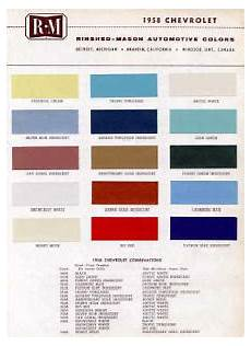 1958 Impala Color Chart 1958 Chevy Paint Color Sample Chips Card Colors Ebay