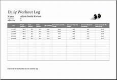 Exercise Log Excel Daily Workout Log Ms Excel Editable Printable Template