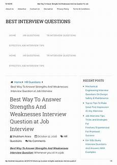 Examples Of Strengths And Weaknesses Interview Best Way To Answer Strengths And Weaknesses Interview