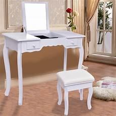 giantex white vanity dressing table set mirrored bathroom