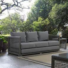 aura patio wicker rattan sofa in gray by modway seven