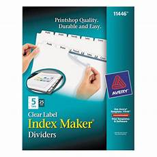 Avery Lable Maker Avery 11446 Index Maker 5 Tab Divider Set With Clear Label