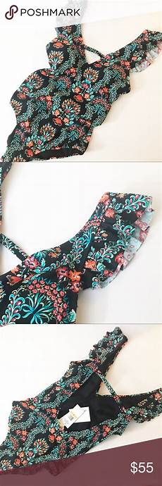 Nwt Simpson Ruffle Floral Bathing Suit Nwt