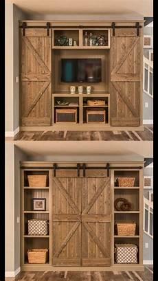 made rustic custom media cabinet with barn doors
