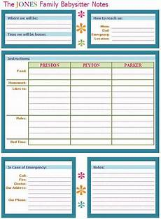 Babysitter Notes Template Babysitter Buddy A Babysitter Note Sheet To Leave On The