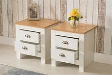 set of 2 white 2 drawer bedside table stand