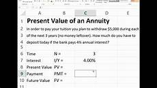 Excel Annuity Present Value Of Ordinary Annuity In Excel Youtube