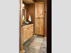 rustic hickory bathroom vanity   Cabinets: Rustic hickory appears again in this lower level bath