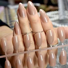 Light Brown Nail Color Fashion Stiletto Press On Nails Pointed Light Brown Ladies
