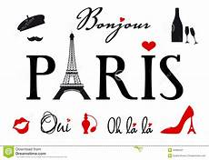 Paris Designs Paris With Eiffel Tower Vector Set Stock Vector
