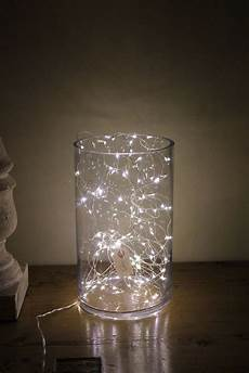Fairy Lights In Glass Cylinder Pin On Home Decor