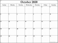 October 2020 Calendar Template October 2020 Blank Calendar Templates