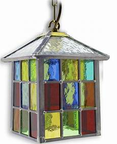 Coloured Outdoor Lantern Lights Lynmouth Multi Coloured Stained Glass Hanging Outdoor