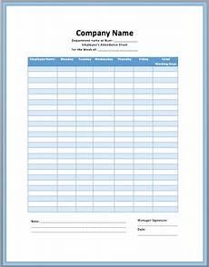 Manual Attendance Register Format Employee Attendance Sheet Template Attendance Sheet