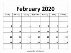 Calendar January December 2020 February 2020 Calendar August Calendar November