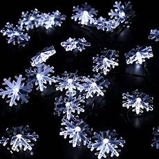 Outdoor Snowflake Christmas Lights String Solar Powered 5m 20 Led Snowflake Fairy String Lights For