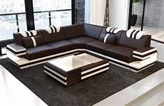 modern leather sofa led gblack white