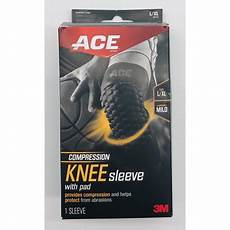 ace knee compression sleeve ace brand compression knee sleeve w pad 901519 large x