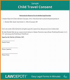 Child Travel Consent Form Samples 8 Letter Of Consent For Travel Of A Minor Child Card