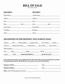 Florida Bill Of Sale Form Free Printable Camper Bill Of Sale Form Free Form Generic