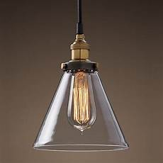 Single Bulb Pendant Light Modern Vintage Industrial Metal Glass Ceiling Light Shade